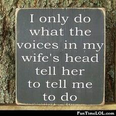 I only do what the voices in my wife's head tell her to tell me to do